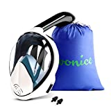 WONICE Snorkel Mask Full Face for Adults and Kids,180°Panoramic View Anti-Fog, Anti-Leak with Adjustable Head Straps,Compatible and Detachable GoPro Snorkeling & Swimming Mask (Dark, S/M)