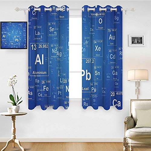 SATVSHOP Blackout Window Curtain- 63W x 45L Inch-Room Darkening Wide Curtains.Science Chemistry Tv Show Inspired Image with Periodic Element Table Image Art Blue and White. ()