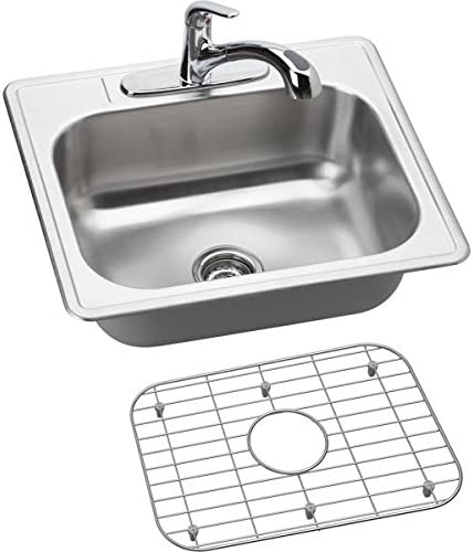 Elkay DSE125223DFBG 20 Gauge Stainless Steel Single Bowl Top Mount Kitchen Sink with And Faucet Kit, 25 x 22 x 8.0625