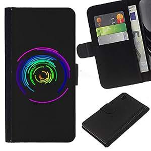 A-type (Modelo fresco del color del diseño del extracto Maze) Colorida Impresión Funda Cuero Monedero Caja Bolsa Cubierta Caja Piel Card Slots Para Sony Xperia Z4v / Sony Xperia Z4 / E6508