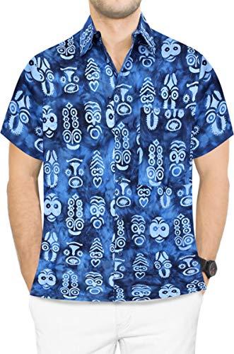 LA LEELA Men's Relaxed Hawaiian Shirt Button Down Aloha Camp Shirt M Blue_Aa153