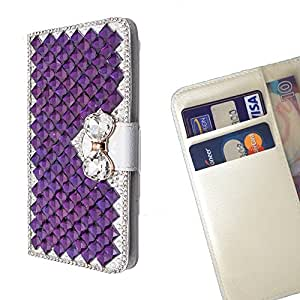 FOR Samsung GALAXY E5/E500F Purpl Bow Bowknot Bling Bling PU Leather Waller Holder Rhinestone - - OBBA