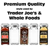 12 Square Glass Spice Bottles Thick Jars with Silver Metal Lids, Shaker Tops, and Labels by SpiceLuxe