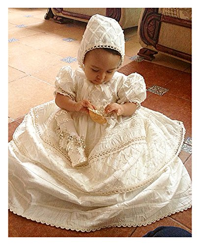Baby-girls Heirloom Christening Baptism Gown Dress (Burbvus Ropones) Handmade - Silk by Burbvus (Image #4)
