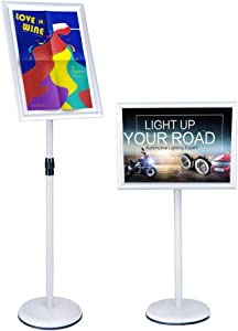 Office Sign Billboard Display Stand Aluminum Alloy Board Sign Stand Vertical Floor Display Board Propaganda Display Stand Poster Stand (8.5x11inches, Silver)