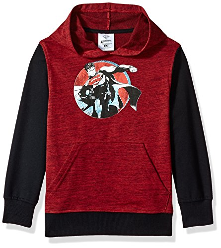 DC Comics Big Boys' Superman Fleece Pullover Hoodie, red/black, X-Small-8