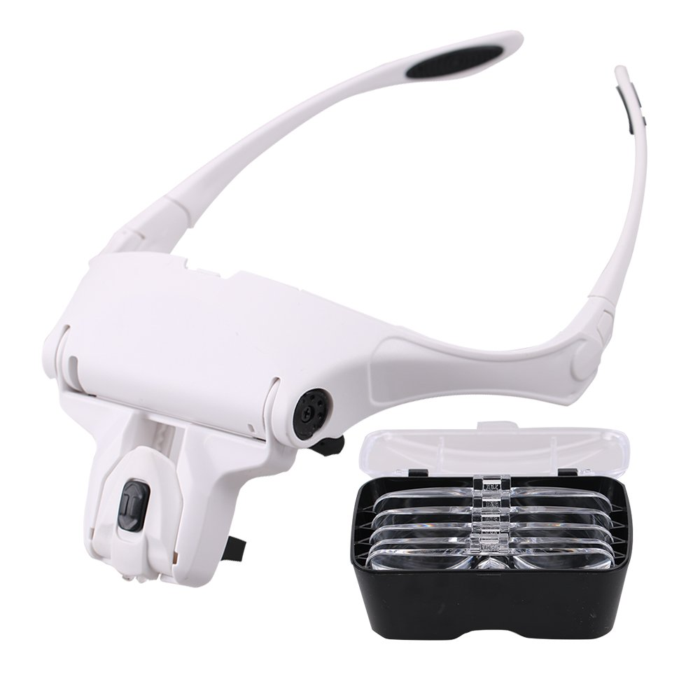 BMBZON Headband Magnifier LED Head Magnifing Glasses Bracket 5 Replaceable Lenses for Reading(1.0X, 1.5X, 2.0X, 2.5X, 3.5X) (Headband Magnifier)