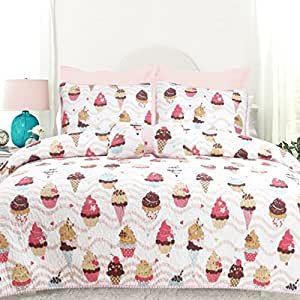 DriftAway Drift Away 3 Piece Sweet Dream Reversible Quilt Set Ice Cream and Cupcake Pattern Multi Colors (Soft Pink / Hot Pink / Aqua/ Chocolate/ Cream), 100% Cotton, Pre-washed, Twin