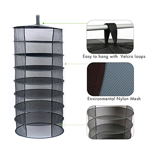 Herb Drying Rack Drying Net 2ft 8 Layer Black Mesh Hanging Tray (2FT-8-Layer) by BSTPART (Image #1)