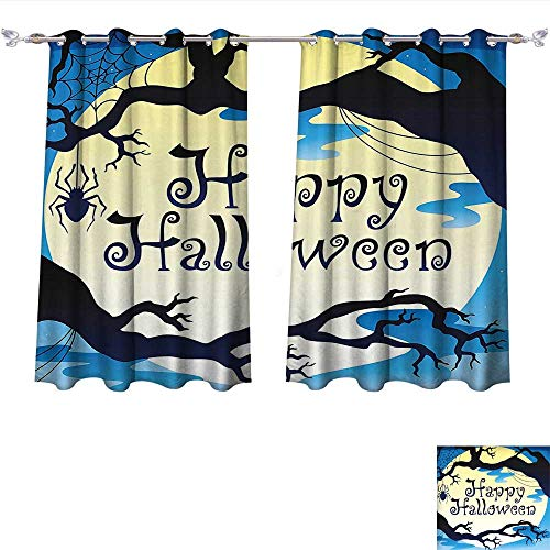 Qinqin-Home Blackout Draperies Halloween Happy Halloween Quote Spooky Night Moon and Branches Shadows Haunted Lights Yellow Black Darkening Blackout Drapes for Bedroom (W63 x L63 -Inch 2 Panels) ()