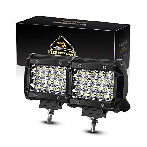LED Pods TURBOSII 2Pcs 4Inch 144W Quad Row LED Light Bar Work Light Spot Beam Super Bright Offroad Driving Fog lights Waterproof IP67 LED Cubes for Truck Jeep Boat ATV UTV 12-24V,1 Year Warranty ()