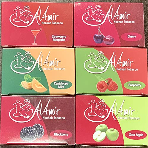 6 Pack x 50g Al Amir Shishia Hookah Cherry, BlackBerry, Strawberry Margarita, Sour Apple, Raspberry, Cantaloupe Mint