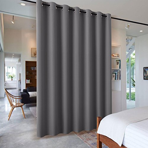 Blackout Blind Curtains Space Divider - RYB HOME Adjustable Ceiling to Floor Blackout Curtain Drape for Hotel / Dorm / Loft / Patio Door, Wide 8.3 ft x Long 7 ft, Grey, Single Panel - Hanger Style Double Sided Floor