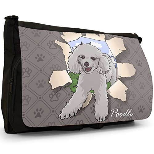 Large Shoulder Breaking Laptop School Canvas Dogs Messenger Bag Black Through Poodle Break RqEBp