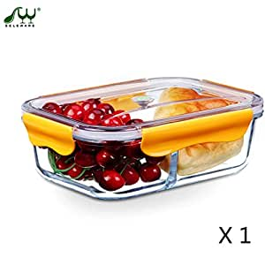 seleware food containers glass microwaveable with dividers lids lock for lunch boxes. Black Bedroom Furniture Sets. Home Design Ideas