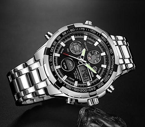GOLDEN HOUR Luxury Stainless Steel Analog Digital Watches for Men Male Outdoor Sport Waterproof Big Heavy Wristwatch 3