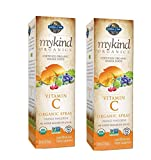 MyKind Organics Certified Organic, Whole-Food, Vitamin C Spray Liquid Dietary Supplement in Delicious Orange Tangerine with No Added Sugars or Stevia 2 Ounces (Pack of 2)