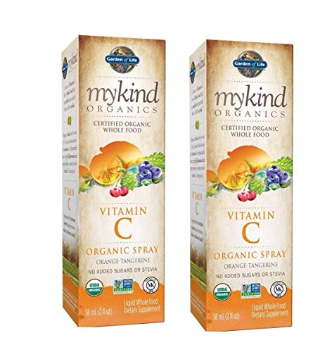 MyKind Organics Certified Organic, Whole-Food, Vitamin C Spray Liquid Dietary Supplement in Delicious Orange Tangerine with No Added Sugars or Stevia 2 Ounces Pack of 2