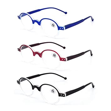 41eeec8beae3 Amazon.com  AMILLET 3 Pack Reading Glasses Round Frame for Men and ...