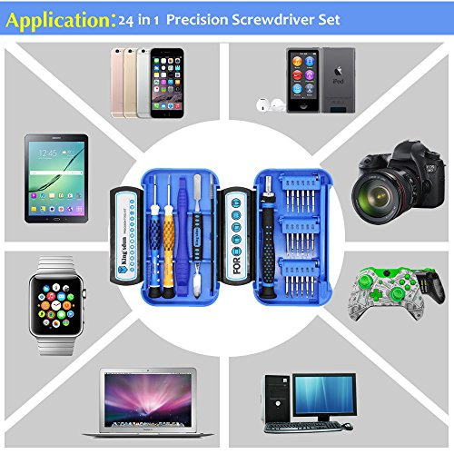 Kingsdun 24pcs Iphone 7 Repair Tool Kit for Apple iPhone 6/6S/5/5C/5S/4S, Ratcheting Screwdriver Bit Set with Metal Spudger Opening Pry Tools & ESD Tweezers in Mini Pocket Box by Kingsdun (Image #1)
