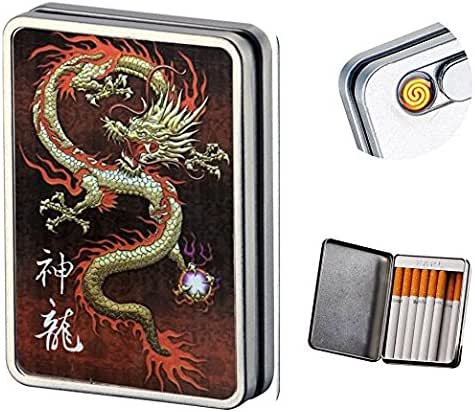 Usb Cigarette Lighter Case Cigarette Box Electronic Flameless Rechargeable Windproof Lighters Can Hold 16 Cigarette Smoke (Dragon usb lighter)