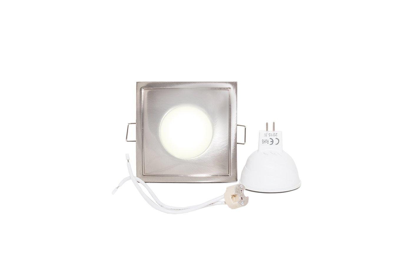 Faretto quadrato silver a tenuta stagna IP65 con lampada led 12v 4w MCOB LED Planetitaly