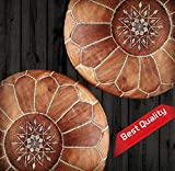 Set of 2 Amazing Moroccan pouf Light Tan color,Best offer,Ottomans Poffes,Footstool poufs,100% handmade leather poof,Ready to magic your living room!