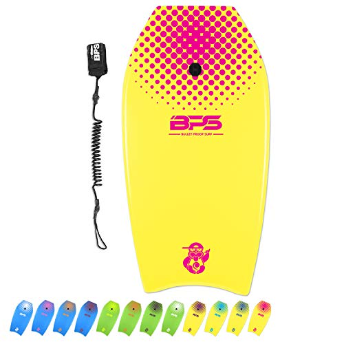 BPS 'Shaka' Body Board with Wrist Leash, Lightweight with EPS Core, High-Speed Slick Bottom Surface, Choose Color and…