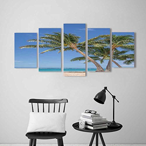 Frameless Paintings Five Pieces Painting Isolated Waikiki Beach View of a Grove of Coconut Palm Trees to liven up and Energize Any Wall or Room.