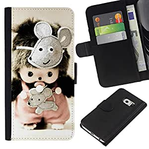 All Phone Most Case / Oferta Especial Cáscara Funda de cuero Monedero Cubierta de proteccion Caso / Wallet Case for Samsung Galaxy S6 EDGE // Cute Toy Mice