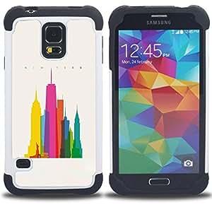 For Samsung Galaxy S5 I9600 G9009 G9008V - CITY COLORFUL ART SKYSCRAPERS POLY ART Dual Layer caso de Shell HUELGA Impacto pata de cabra con im??genes gr??ficas Steam - Funny Shop -