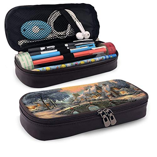 Tessipolo Beautiful Chimney House In The White Black Leather Pencil Case Shell Pen Case Holder For Executive Fountain Pen And Stylus Touch Pen