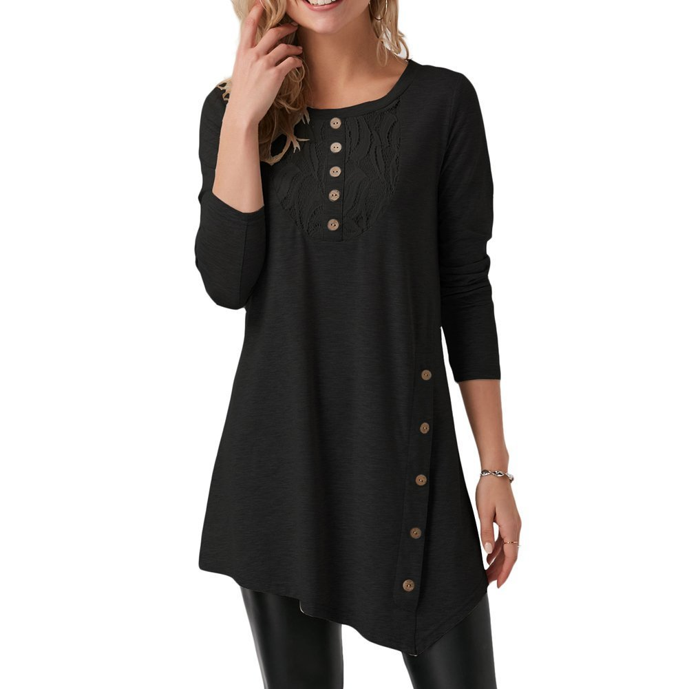 Mefezi Casual Tops for Women Wide Neck Shirts and Lace Blouses for Leggings Long Sleeve Black L