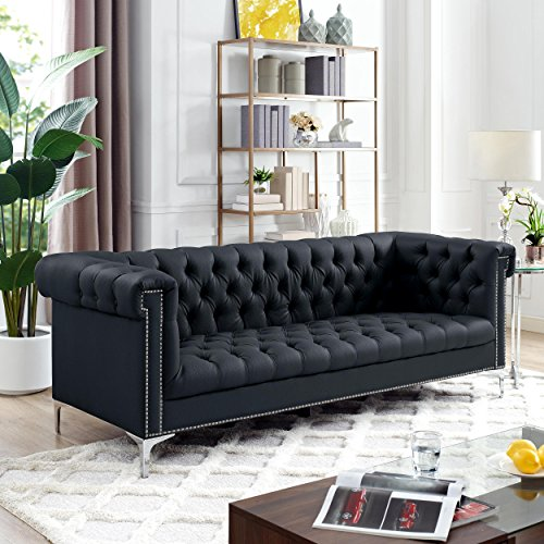 Oxford Black Leather Chesterfield Sofa   Silver Metal Legs | Button Tufted  | Nailhead Trim |