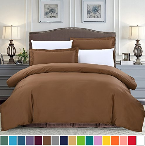 SUSYBAO 100% Cotton 2 Pieces Duvet Cover Set Twin/Single Size 1 Duvet Cover 1 Pillow Sham Chocolate Brown Luxury Quality Soft Breathable Comfortable Fade Stain Wrinkle Resistant with Zipper (Cotton Percale Pillow Sham)