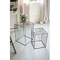 Kalalou Set of Two Wire Woodgrain Accent Tables
