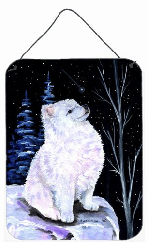 12x16 Multicolor Carolines Treasures SS8389DS1216 Starry Night American Eskimo Aluminium Metal Wall or Door Hanging Prints