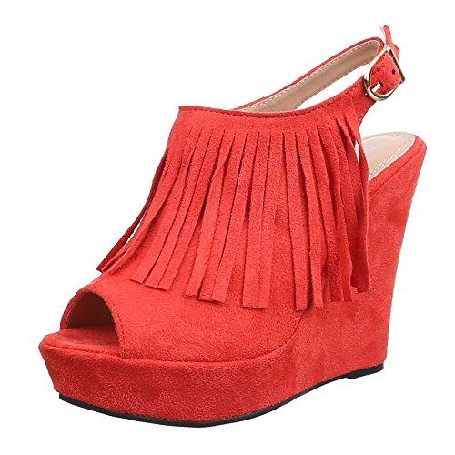 compensées Rouge Design chaussures femme Ital qTfHYwx
