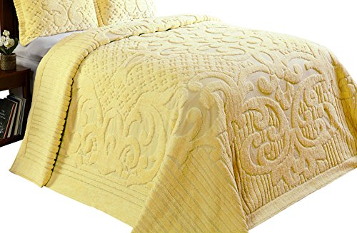 Better Trends/ Pan Overseas Ashton Chenille Bedspread, King, Yellow