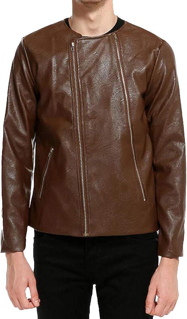 Fensajomon Mens Doubel Zipper Faux Leather Casual Motorcycle Slim Coat Jacket Outerwear