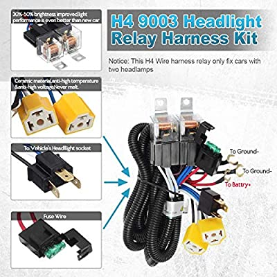 Partsam H4 9003 Headlight Relay Wiring Harness Kit High Low