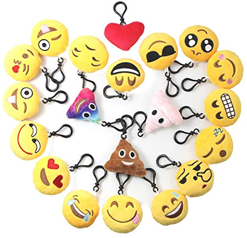 (Emoji Keychains Plush Mini Pillow for Home Decoration/Kids Birthday Party Supplies Favor/Novel Toy/Party Bag Filler/Camp Prize Classroom Carnivals Reward for Girls and Boys, 20 Pack)