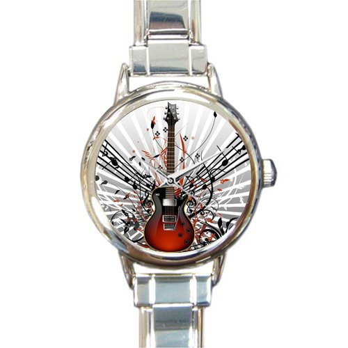 Hot Sale Christmas Day Gift Watch Distinctive Guitar Music Notes Round Italian Charm stainless steel Watch