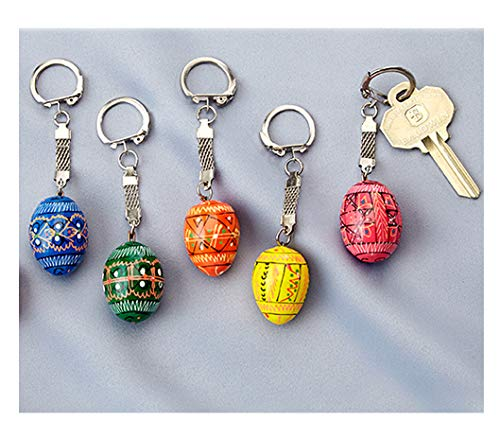 Religious Gifts 5 Ukrainian Hand Painted Wooden Easter Eggs Pysanky Key Chains 1 1/4 ()