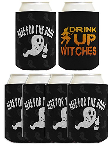 Funny Halloween Beer Coolie Here for Boos Drink Up Witches 2-Sided Costume Accessory 6 Pack Can Coolie Drink Coolers Coolies Black -