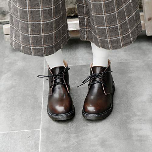 Shukun Stiefeletten Herbst Und Winter Runde Kopf Pu Baumwolle Stiefel Lässig Krawatte Retro Kunst Flache Martin Stiefel Damenschuhe Studenten