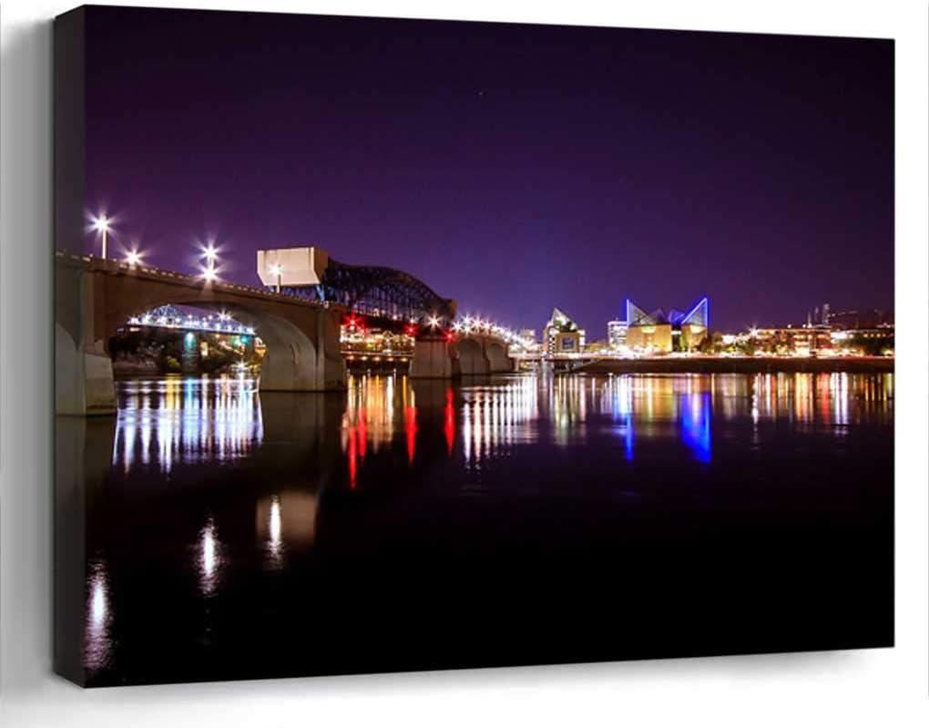 Wall Art Canvas Print Home Decor (20x14 inches)- Cityscape Bridge Chattanooga River Landscape