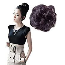 BarRan Hair Bun Updo Elastic Hair Piece Wigs Ponytail Curly Scrunchie Hair Extensions (Brown and Black)
