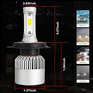 DJI 4X4 H4 LED Headlight Bulbs Conversion Kit, 9003 Hi/Lo Dual Beam CREE Chips 150W 15000 Lumen 6000K Cool White - 1 Pair
