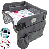 Kids Travel Play Tray by KENLEY KIDS   Car Seat Activity Tray   Waterproof, Food & Snack Tray with Tablet/iPad/Cup Holder   Back Seat Organizer   Padded & Portable (Pink/Gray)